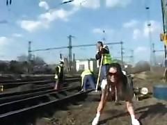 Поработала на железнодорожных путях